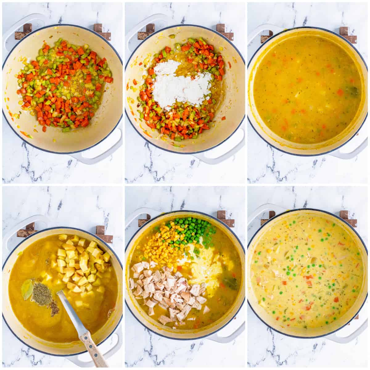 Step by step photos on how to make Chicken Pot Pie Soup.