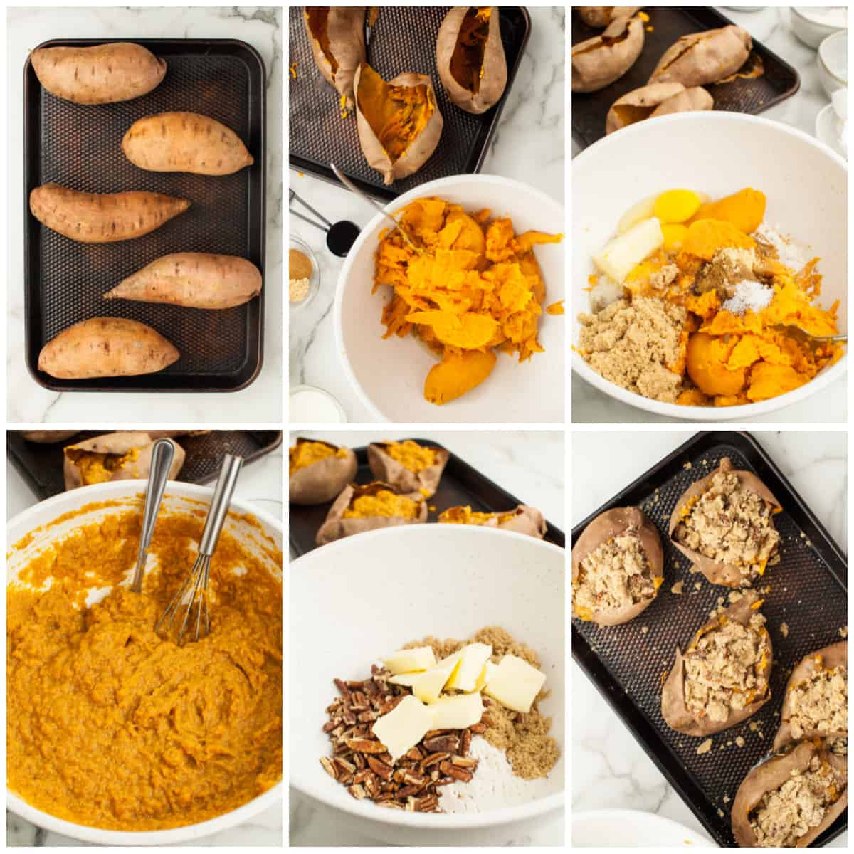 Step by step photos on how to make Twice Baked Sweet Potatoes