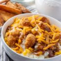 KFC Bowls with chicken, potatoes, gravy, corn and cheese